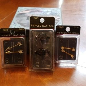3 New 14g Pierced Nation Nipple Ring Sets